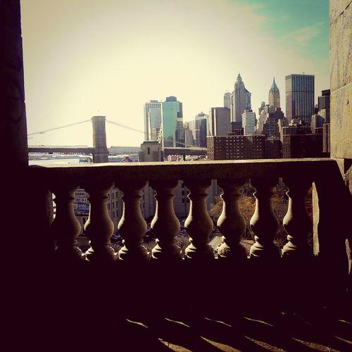 Two Bridges Brooklyn Bridge  Manhattan Bridge Cityscape