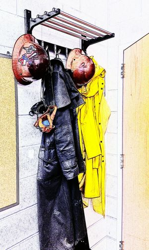 Office Decor HardHats Raincoat At Work Playing With Filters