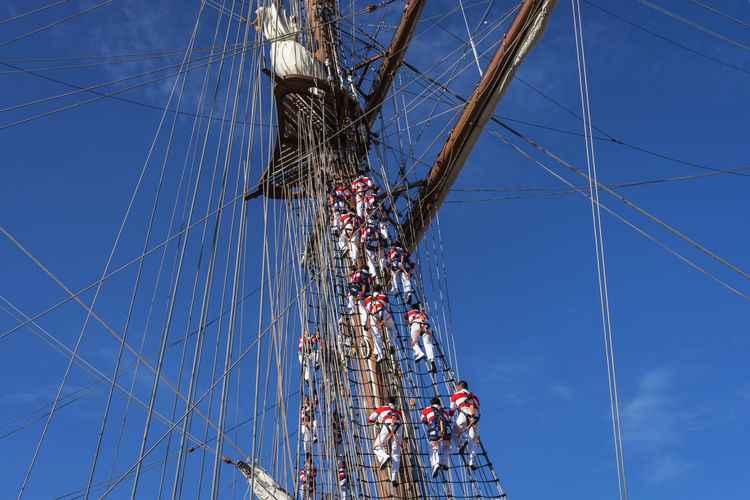 Low angle view of rope against blue sky