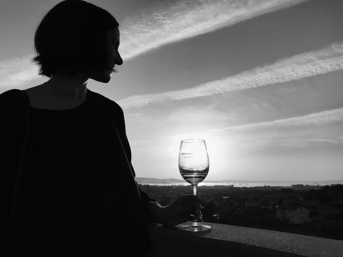 Black And White Friday Sunset Sun_collection Contrast Contrast And Lights Contrast Of Shadows Wineglass Wine Moments Galicia,spain Paradise Bodega Martin Codax Bodega Galicia One Person Drinking Glass Outdoors Scenics Travel Destinations Horizon Over Water EyeEm Best Shots Traveling Be. Ready. Atlantic Ocean Rivera Del Duero Amazing Galicia Cloud - Sky Tranquility