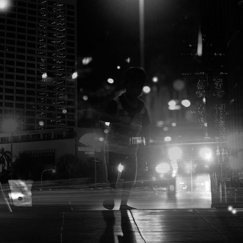 Playground. One Person People Night Black And White Monochrome Fine Art Daily Life Urbanlife Jakartastreetphotography Doubleexposures