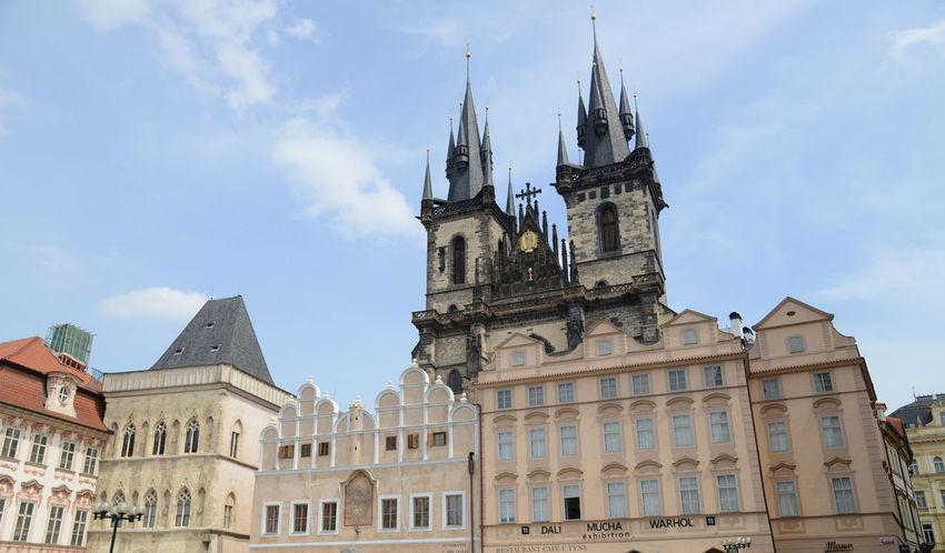 Church Of Our Lady Before Tyn Prague Czech Republic Town Hall Square Architecture Belief Building Building Exterior Built Structure Clock Cloud - Sky Day Gothic Style History Low Angle View Nature No People Outdoors Place Of Worship Religion Sky Spire  Spirituality The Past Tower Travel Destinations