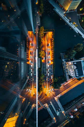 Illuminated Night Architecture Built Structure Building Exterior City Motion Road Transportation No People High Angle View Street City Life Outdoors Blurred Motion Cityscape Architecture Berlin Skyscraper Tower Glass Colors Dusk Exploring Check This Out
