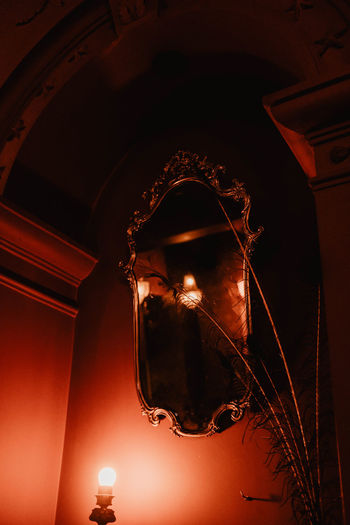 Illuminated Indoors  Low Angle View No People Architecture Lighting Equipment Built Structure Night Glowing Ceiling Arch Decoration Hanging Building Close-up Light Dark Electricity  Religion The Past Mirror Mirror Reflection Mirror Effect Focus