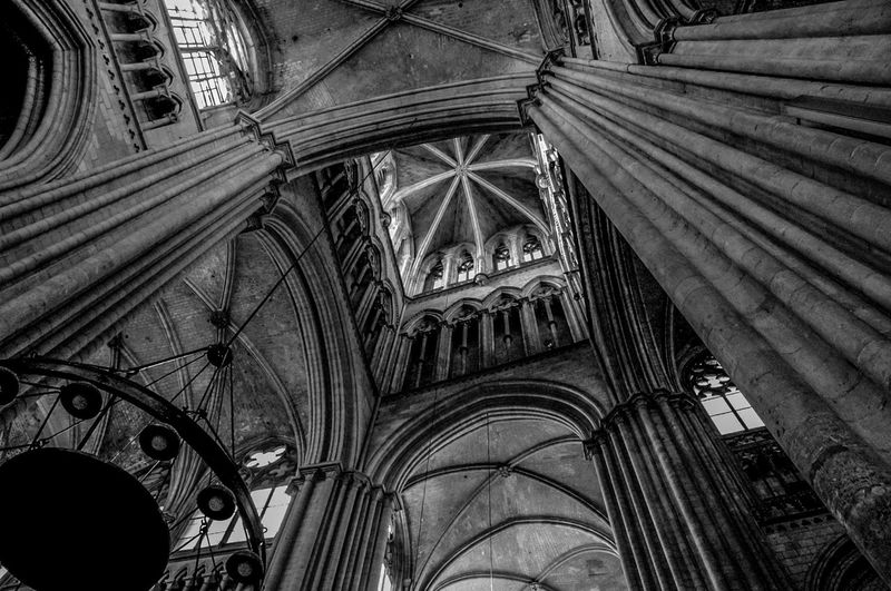 Architecture Black And White Built Structure Church Day EyeEmNewHere History Indoors  Low Angle View No People Pillars Place Of Worship Religion Spirituality Travel Destinations