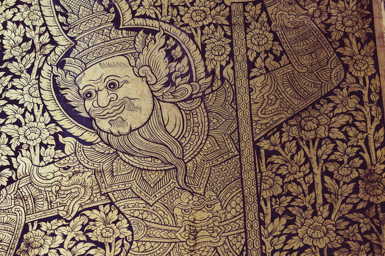 Thai Art Art And Craft Thailand Art Close-up Cultures Thailand Art Gold Colored Drawing Creativity Art And Craft