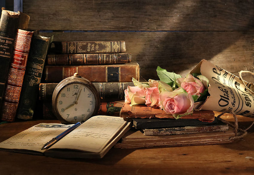 Still Life Books Still Life Old Books Bouquet Of Roses Bouquet In Old Newspaper Antique Alarm Clock Clock Vintage