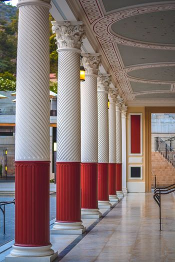 Composition Vertical Pillars Art Museum Getty Villa Getty Architecture Architectural Column Built Structure No People Building Indoors  Day Flooring Red Lighting Equipment Corridor Ceiling In A Row Business Finance And Industry Arcade Convention Center Pattern Electric Lamp Architectural Feature Modern
