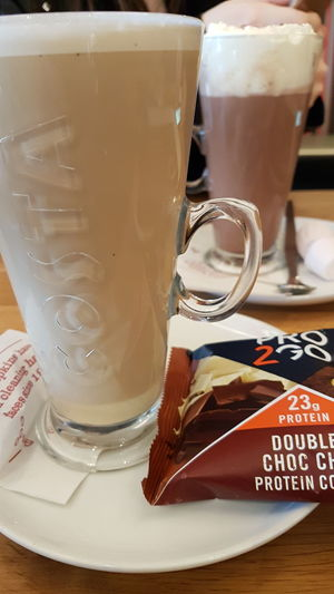 The best part of a Sunday..... Coffee - Drink Drink Food And Drink Refreshment Latte Close-up For The Love Of Photography Healthy Lifestyle Phone Photography Protein Cookies Samsung Galaxy S7 Edge
