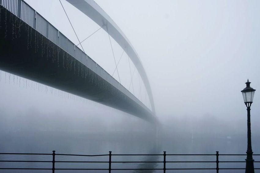 Hoge Brug Fog Low Angle View No People Day Water Sky Nature Bridge Footbridge Maastricht Connection