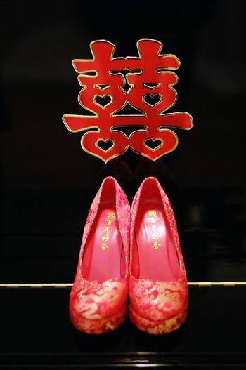 Weddings Around The World Canadian Chinese Wedding Wedding Shoes Double Happiness where i can find a black background to put the beautiful red shoes on? Look closer, it's a Piano @ YYC