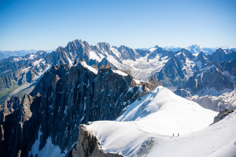View from the top of the aguilles du midi and mont blanc near chamonix in french alps
