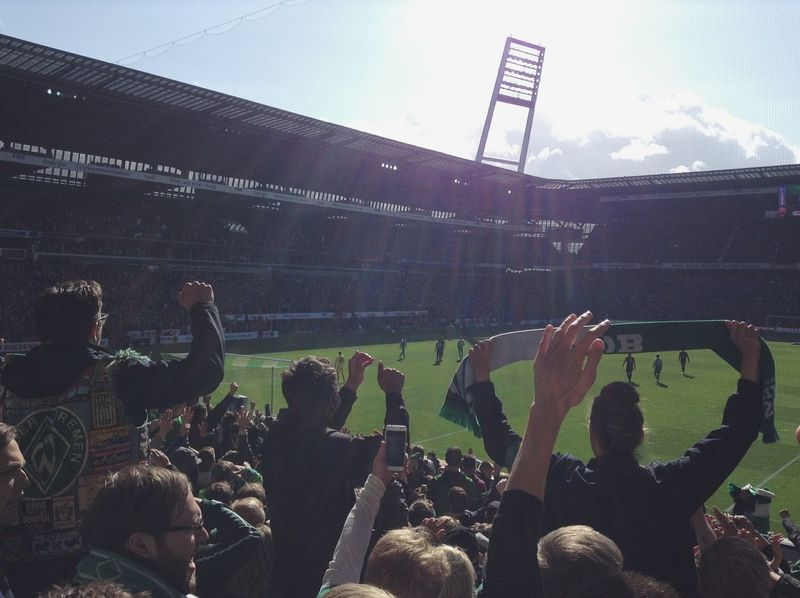 Cheering Up the Team. · Bremen Germany Weserstadion Werder Bremen Werder Fans SUPPORT Half Time Stadium Football Stadium Fussball Football Real Football Soccer Atmosphere Euphoria Against The Sun