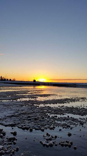 Beach Beauty In Nature Outdoors Sea Sunset Water Wattenmeer Winter Wonderland