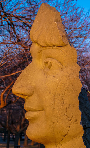 Lachine Lachine Canal Montreal Nature Statue Art And Craft Canada Canada Coast To Coast Close-up Day Dusk Face Human Face Monument No People Outdoors Park Sculpture Sky Statue Sunset Time