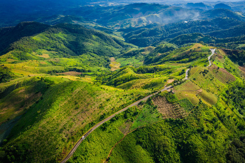 High angle view of green landscape view and mountains pass