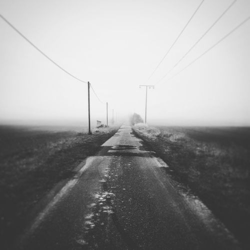 Weather No People Outdoors Sky Telephone Line Cold Temperature Road
