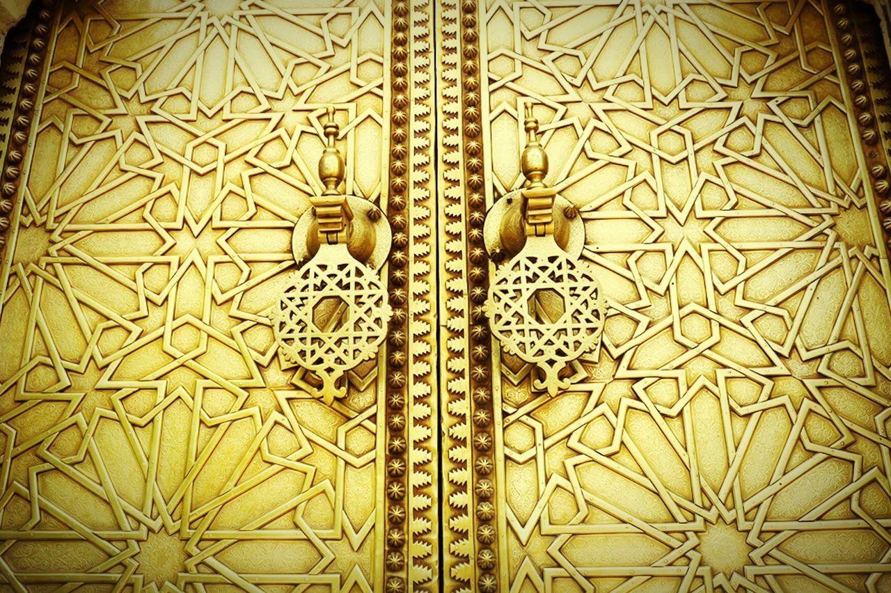 Low Angle View Of Closed Gold Door Of Dar Al-makhzen