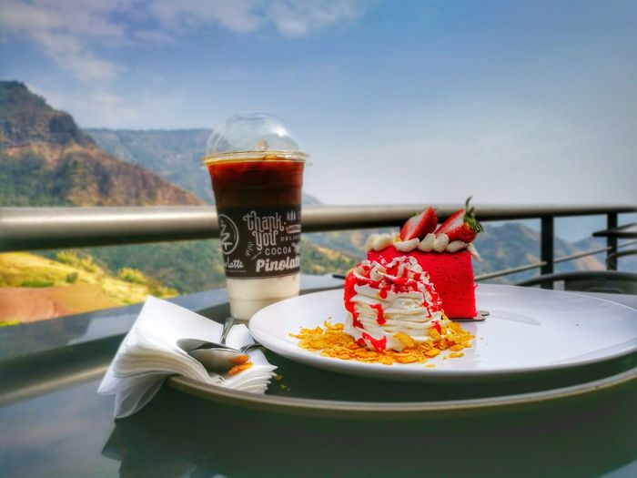 Healthy Eating Healthy Lifestyle Drink Food And Drink Fruit Food No People Plate Freshness Refreshment Water Drinking Glass Mountain Outdoors Sweet Pie Sky Day Thailand First Eyeem Photo Travel Destinations Blue