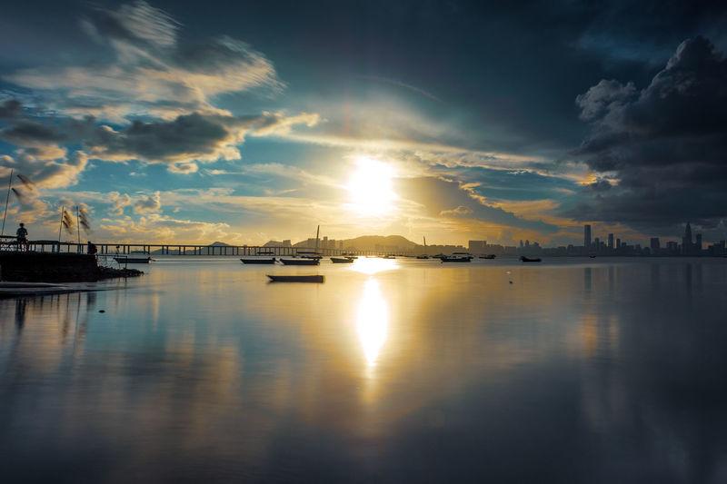 Water Nautical Vessel Sea Sunset Beach Harbor Reflection Yacht Summer Sky