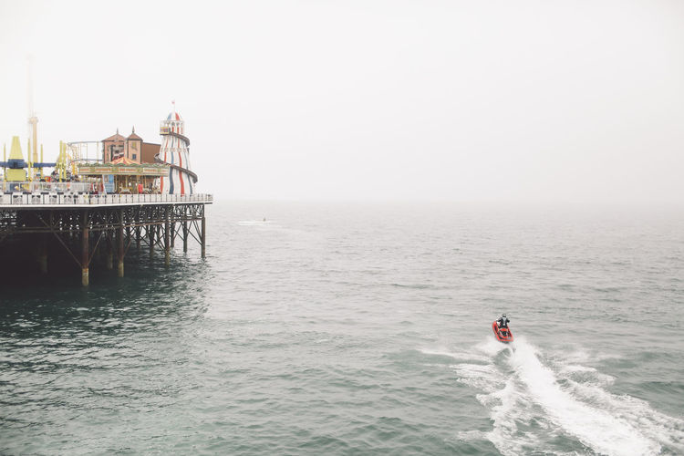 Beach Beauty In Nature Brighton Brighton Pier Day Fog Foggy Horizon Over Water Idyllic Leisure Activity Lifestyles Nature Outdoors Rippled Scenics Sea Seascape Shore Sky Tranquil Scene Tranquility Vacations Water Waterfront Wave