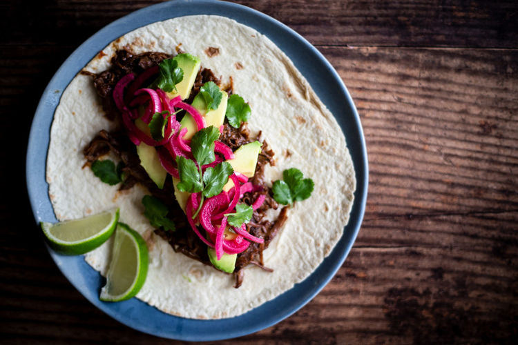 Beef Cheek Taco Food Vegetable Freshness Ready-to-eat Directly Above Indoors  Wood - Material Meal Meat No People Table Close-up Garnish Herb Snack Beef Tacos Mexican Food Texmex Onions Cilantro Avocado Coriander Tortilla Rustic