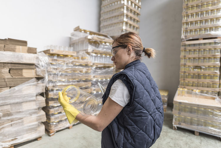 Woman working at warehouse