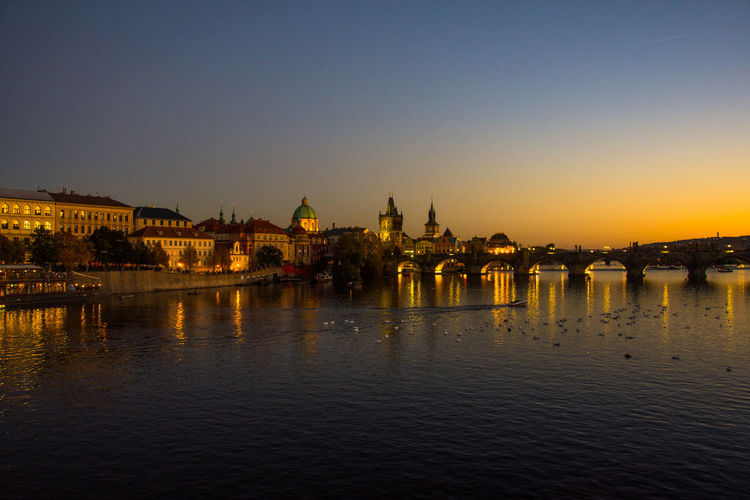 sunset at Charles Bridge Charles Bridge Czech Republic Gothic Karlův Most Prague Architecture Built Structure Chain Bridge City Clear Sky Connection Day Historic No People River Sky Sunset Travel Destinations Water