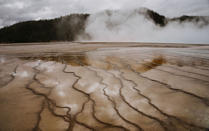 Yellowstone National Park Yellowstone Geothermal  Geothermal Activity Volcanic Landscape Wyoming Wyoming Landscape Heat - Temperature Scenics - Nature Geology Power In Nature Environment Water Non-urban Scene Physical Geography Hot Spring Geyser Steam Landscape Nature Beauty In Nature Smoke - Physical Structure Cloud - Sky Climate Arid Climate No People Tranquil Scene Outdoors Day