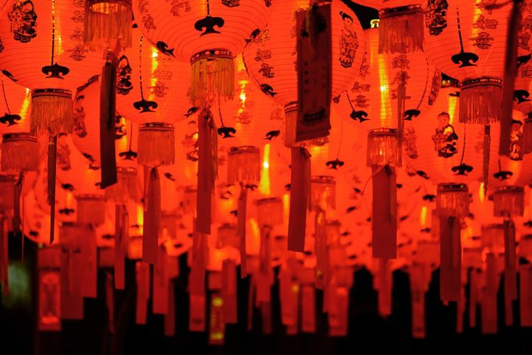 Orange Color Cultures Hanging Red Chinese New Year Full Frame Indoors  No People Spirituality Close-up Illuminated Lantern Day