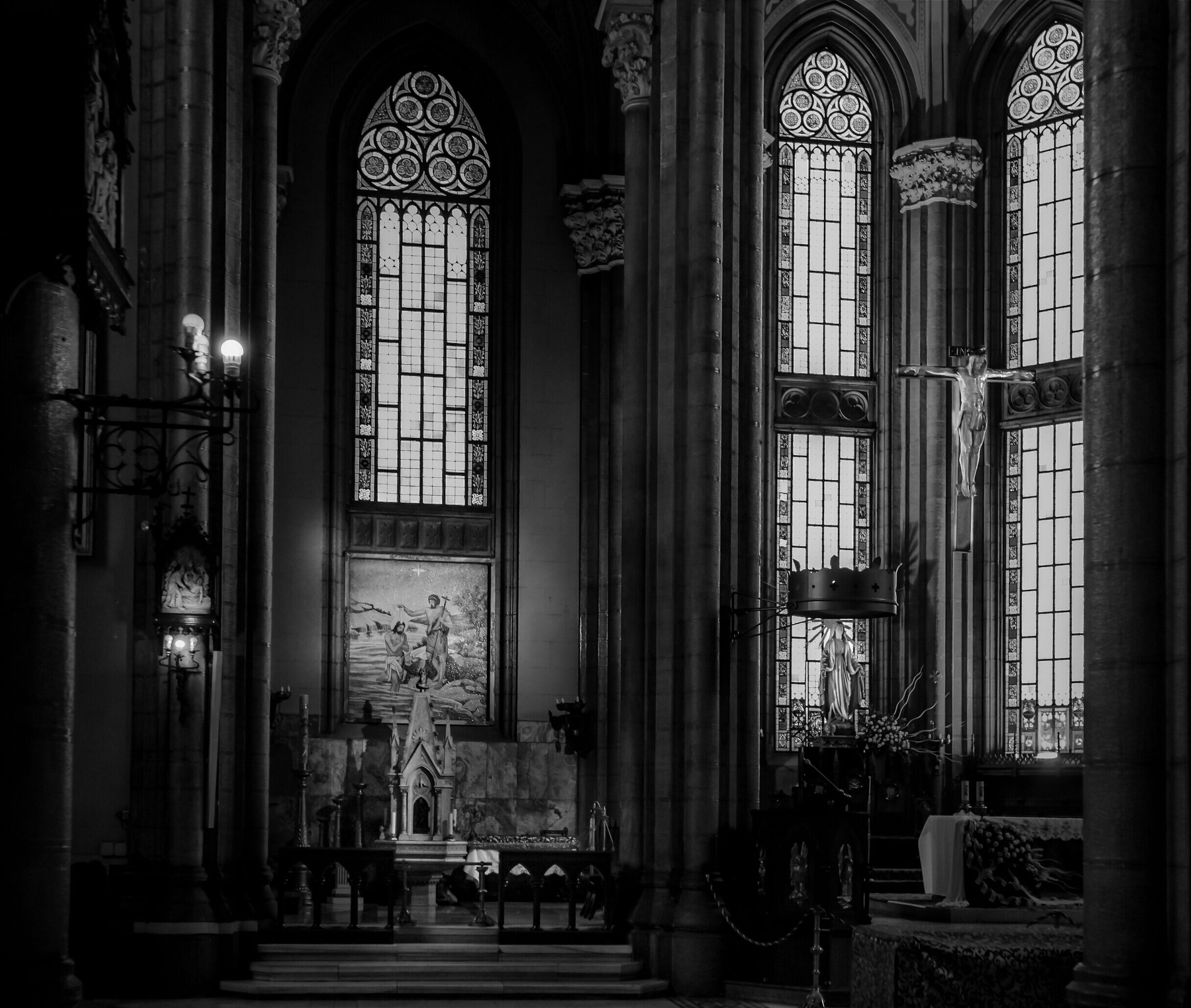 indoors, place of worship, religion, church, spirituality, arch, architecture, window, built structure, door, entrance, cathedral, interior, illuminated, incidental people, glass - material, day, ornate