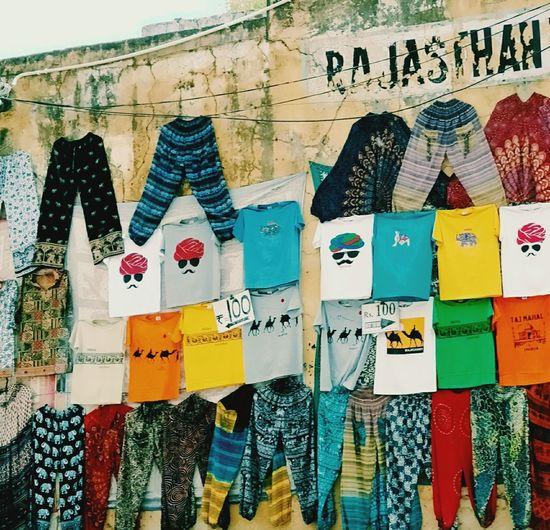 Rajasthan Jaipur India Clothes Clothline Street Sale Colours Multi Colored Variation
