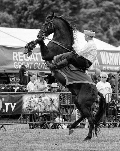 One of 'The Devil's Horseman' Animal Photography Black & White Black And White Photography Country Fair Day Out Horse Photography  Horse Riding Horsemanship Stunt Taking Photos