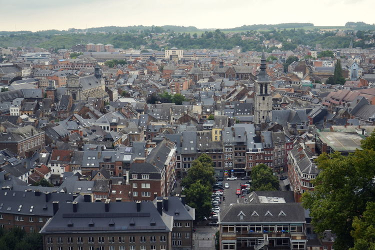 Belgian city Namur, capital of province of Namur and Wallonia, aerial view Building Exterior Architecture City Built Structure Residential District Cityscape Roof Nature House High Angle View Town Day Outdoors TOWNSCAPE Building Place Namur Belgium Aerial View