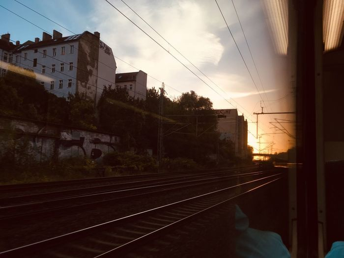 Berlin City Life On My Way Sky Built Structure Building Exterior Architecture Sunset Rail Transportation Nature Track Railroad Track Transportation Train