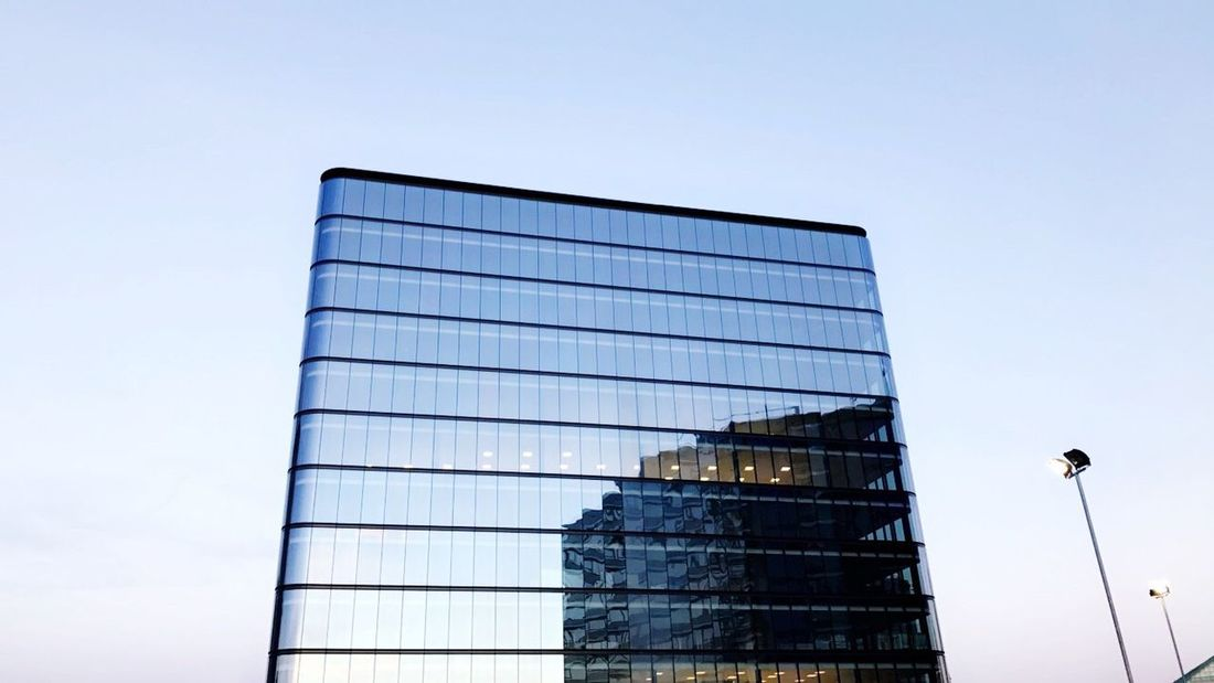 Low Angle View Clear Sky Architecture Building Exterior Built Structure No People Outdoors Day Sky Office Block Reflections Reflection Windows Window