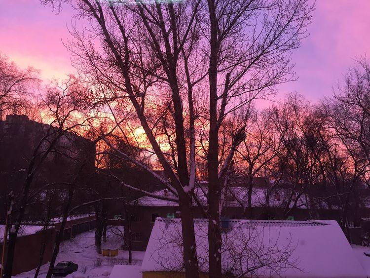 утро красота яркие цвета на работе вид из окна Самара