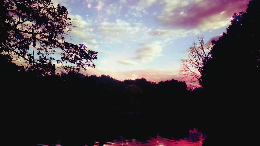 Tree Reflection Cloud - Sky Lake Sky No People Water Nature Outdoors Multi Colored Sunset Tranquility Scenics Beauty In Nature Night Pixelated The Great Outdoors - 2017 EyeEm Awards EyeEmNewHere