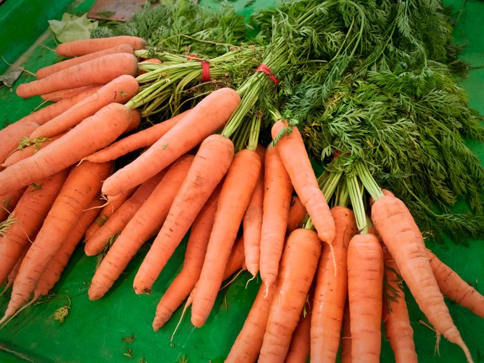 Close-up of carrots at market