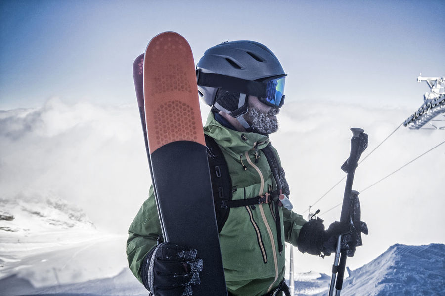 Portrait of freeskier at the ski resort Airbag Allgäu Man Tirol  Adventure Avalanche  Bayern Equipment Freeride Headwear Helmet Ischgl Leisure Activity Lifestyles Outdoors Pitztal Ski Ski Goggles Ski Holiday Skiing Snow Sölden Vacations Winter Winter Sport