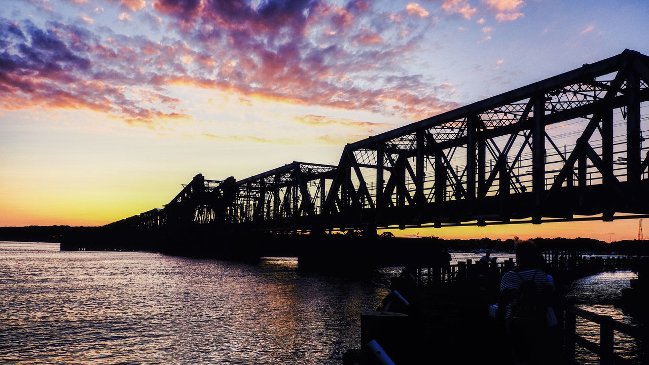 sunset, sky, bridge, architecture, transportation, bridge - man made structure, built structure, connection, cloud - sky, water, silhouette, nature, orange color, group of people, river, engineering, men, real people, beauty in nature, outdoors