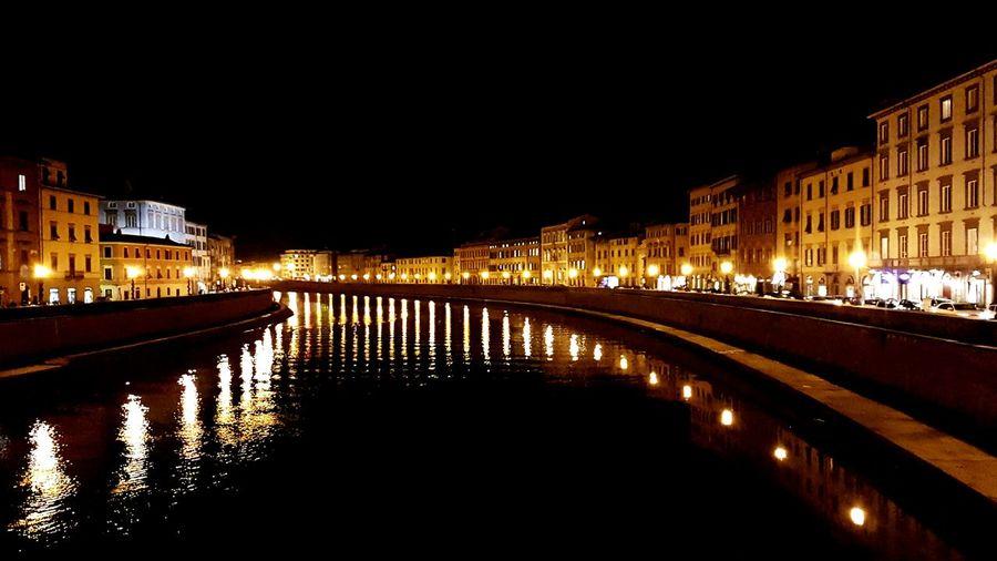 Lights. Illuminated Night Reflection Cityscape Bridge - Man Made Structure Water Italy🇮🇹