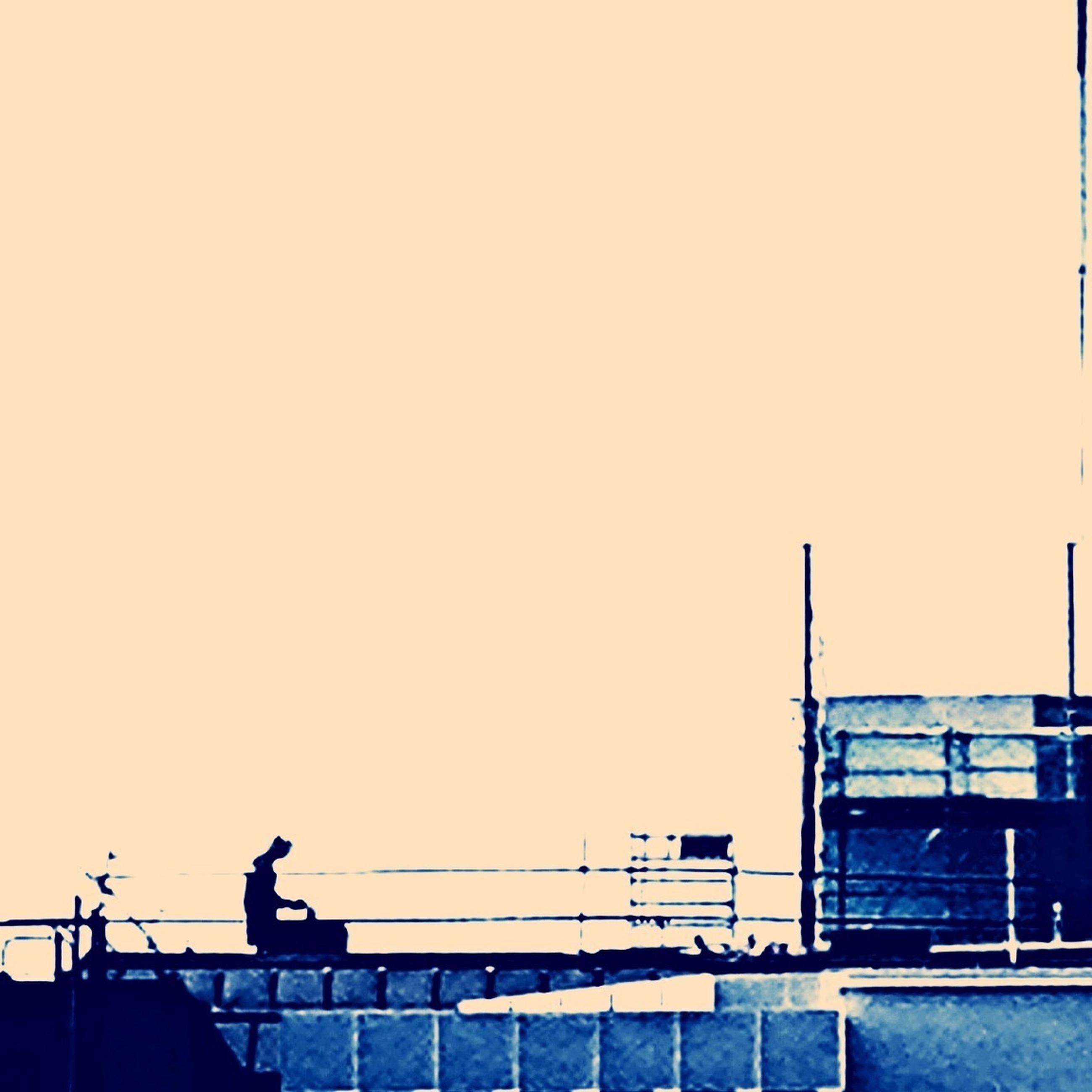 clear sky, copy space, built structure, railing, architecture, low angle view, silhouette, building exterior, men, sunset, full length, outdoors, lifestyles, side view, day, leisure activity, standing
