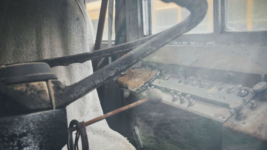 Close-up of old metal railing