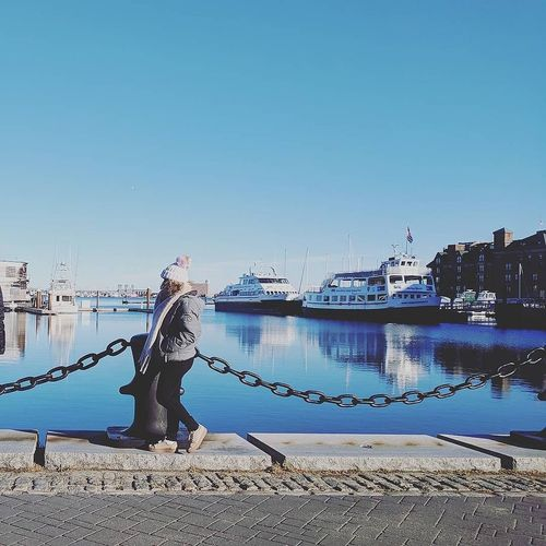 Boston Boston Harbor Waterfront Standing Full Length One Person Beauty In Nature Nature Clear Sky Outdoors Sea Blue Sky Water Women Real People Warm Clothing Cold Temperature Street Photography EyeEm Selects Boston Harbor Islands Fashion