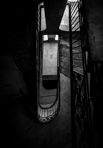 Shaft Lookingup Black & White Blackandwhite Hungary Magyarország Budapest Architecture Indoors  Steps And Staircases Built Structure No People Staircase Railing Spiral Staircase Building Dark Old
