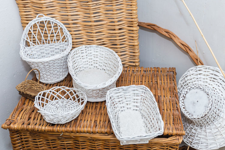 High angle view of wicker basket on table