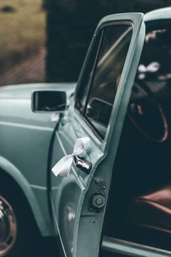 Close-up of car on side-view mirror