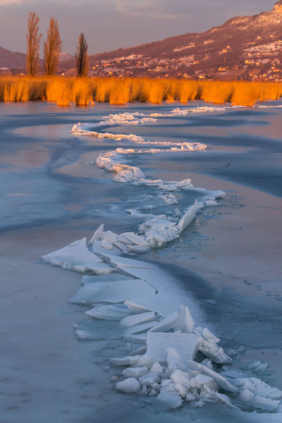 Badacsony Balaton Beauty In Nature Break Cold Temperature Danger Day Fracture Frozen Hungary Ice Lake Lake View Landscape Nature No People Outdoors Polar Climate Rupture Scenics Snow Sunset Water Waterfront Winter