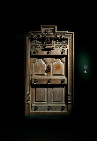 Archaeology Asian Culture Asian Civilisations Museum Asian Civilization Museum Black Background Closed Dark Door Entrance Indoors  No People Safety Security The Past Wood - Material Wooden Door